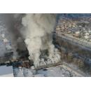 Вид горящей обувной китайской фабрики с высоты