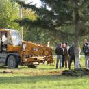 С корнями выкапывают огромные елки у главпочты в Бердске