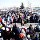 Штурмовали снежную крепость и провели кулачные бои в день Масленицы в Бердске