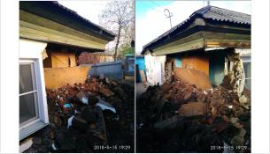 В Бердске по ул. Мира, 41 рухнула стена частного дома