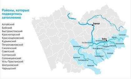 Карта наводнения 2014 года в Алтайском крае. Инфографика altapress.ru