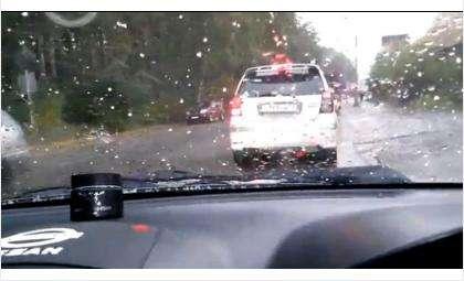 Град в Новосибирске 19 сентября. Фото - кадр из видео