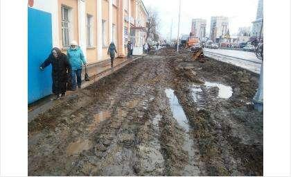 Дискомфорт от реконструкции ул. Ленина в Бердске испытывают пешеходы