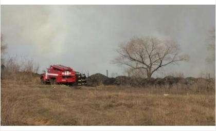 Горят 2 га полей в Южном микрорайоне в Бердске