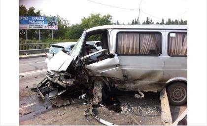 В микроавтобусе пострадали четверо взрослых и трое малолетних детей
