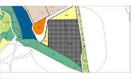 На схеме кладбище обозначено серым цветом. Участки расширения территории - желтым цветом