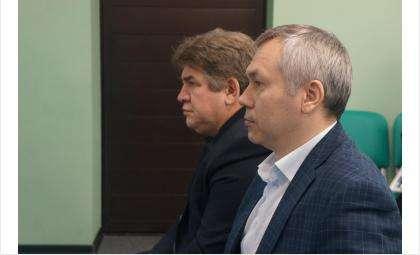 Мэр Бердска Евгений Шестернин и врио губернатора Новосибирской области Андрей Травников