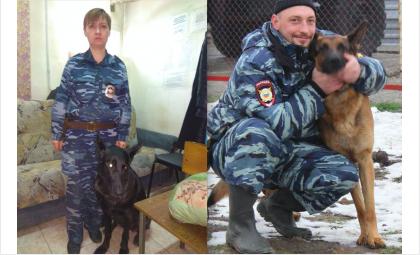 Полицейские-кинологи Ирина Оганесян и Сергей Глик