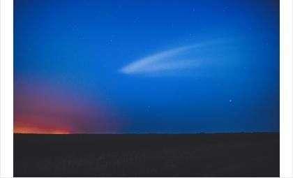 Пуск ракеты-носителя «Союз-ФГ» скосмодрома Байконур запечатлела фотограф из Бердска