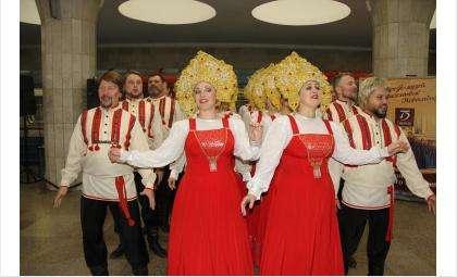 Тематический вагон, посвященный Сибирскому народному хору, запущен в Новосибирском метро