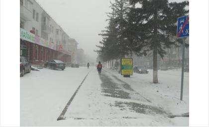 Улицы Бердска засыпает снегом