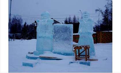 Впервые в Бердске появились ледяные Дед Мороз и Снегурочка