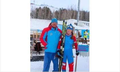 Тренер Александр Хлебородов и биатлонистка Анна Прижимова