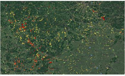 Красные точки – пожары в границах осушенных торфяников за сегодня
