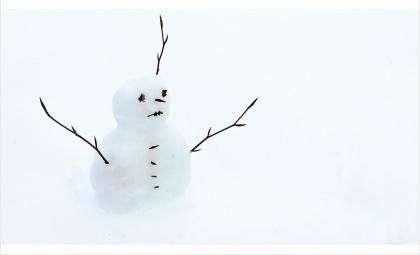Школьники пытались поломать снеговика