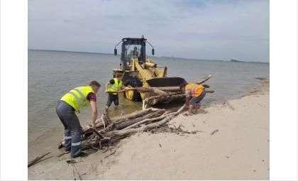 Еще 12 лесовозов топляка вывезли с пляжа «Старый Бердск»
