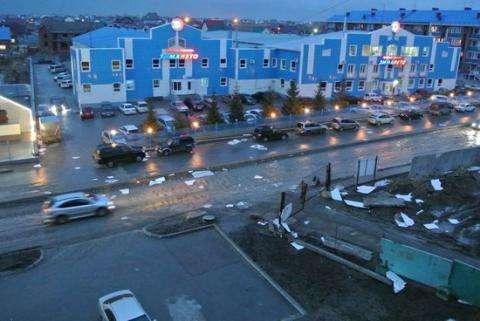 Штормовым ветром в Бердске сорвало металл с крыш и повалило деревья