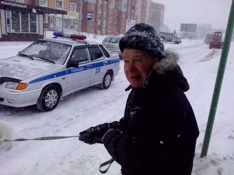 Пенсионер гуляет с собакой про проезжей части. Был сбит автомобилем. Существенных травм не получил