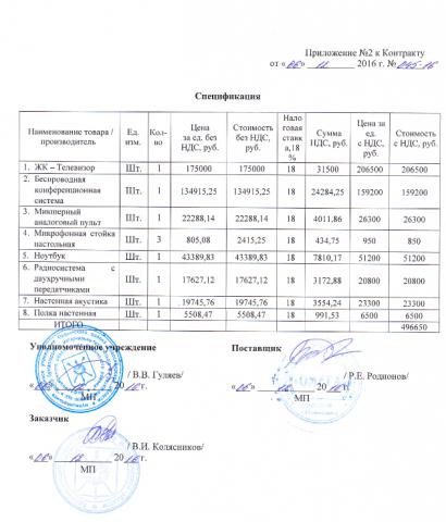 Приложение к заключенному контракту подписано главой Ордынского района